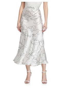 Iva Floral Print Silk Midi Skirt by Equipment