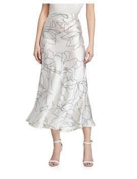 Iva Floral Print Silk Midi Skirt by Equipment