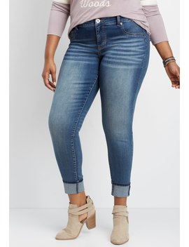 Plus Size Denim Flex™ Medium Wash Cuffed Jegging by Maurices