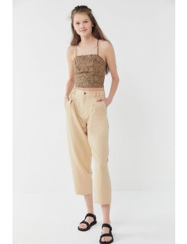 Uo Cardi Linen Strappy Tie Back Cropped Top by Urban Outfitters