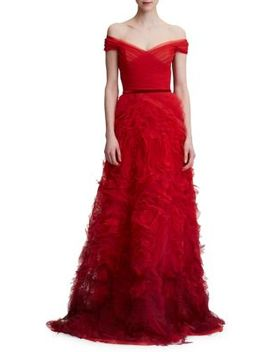 Off The Shoulder Tiered Ruffle Gown by Marchesa Notte