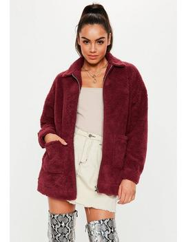 Burgundy Oversized Teddy Zip Through Jacket by Missguided