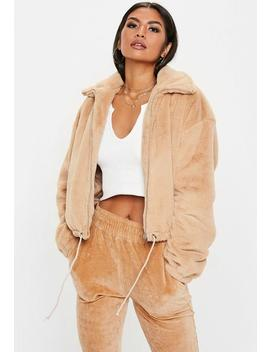 Camel Faux Fur Bomber Jacket by Missguided