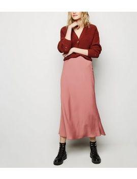 Rust Satin Bias Cut Midi Skirt by New Look