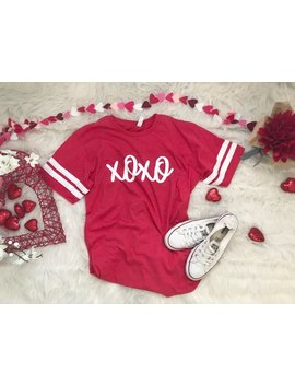 Xoxo Tee, Valentines Day Shirt, Women's Tee, Adult, V Day, Love, Valentines Day Outfit, Heart Shirt, Two Stripe Raglan, Stripe Sleeve by Etsy