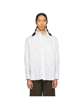 White Striped Compressed Hanger Mold Shirt by Doublet