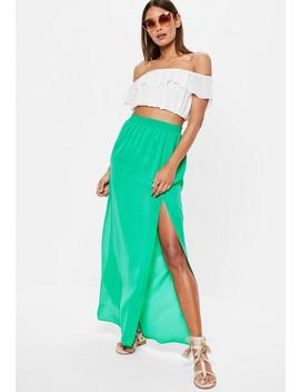 Green Split Maxi Skirt by Missguided
