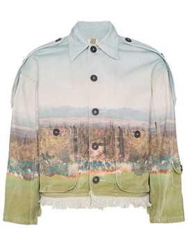 Cactus Print Epaulette Denim Jacket by Nounion