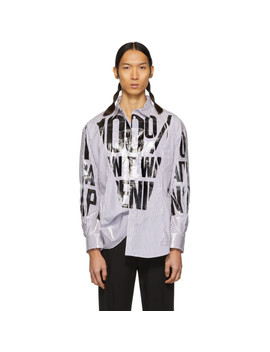 Multicolor Striped Packaged 3 D Cutting Slogan Shirt by Doublet