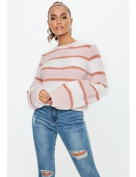 Pink Fluffy Stripe Jumper by Missguided