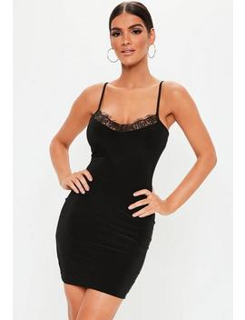 Black Strappy Lace Insert Bodycon Dress by Missguided