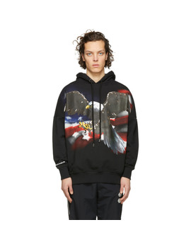 Black Eagle Over Hoodie by Palm Angels