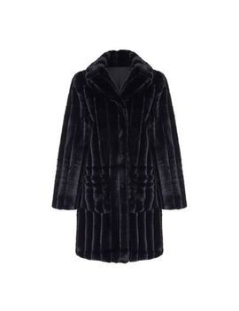 Yumi   Black Faux Fur Patch Pocket Coat by Yumi