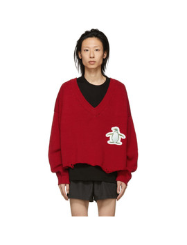 Red 3 D Patch Cut Off Sweater by Doublet