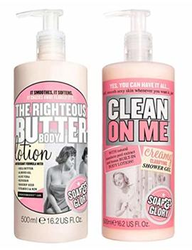 Soap And Glory The Righteous Body Butter Lotion Bundled With Clean On Me Creamy Clarifying Shower Gel 500 Millilitre Hand Pumps by Soap And Glory