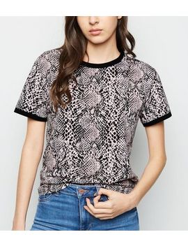 Pink Snake Print Ringer T Shirt by New Look