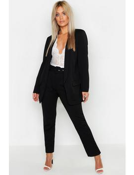 Plus Self Belt Tailored Trousers by Boohoo