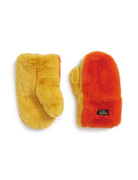 Supersoft Colorblock Faux Fur Mittens by Heurueh