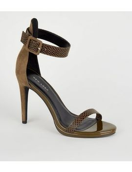 Khaki Suedette Faux Snake Strap Stilettos by New Look