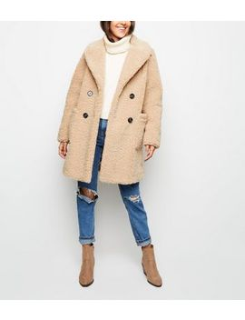 Cream Double Breasted Longline Borg Coat by New Look