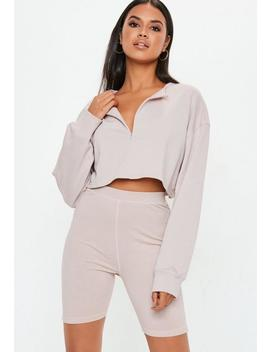 Cream Zip Front Crop Sweater by Missguided