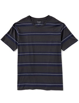 Soft Washed Short Sleeve Large Striped V Neck T Shirt by Roundtree & Yorke