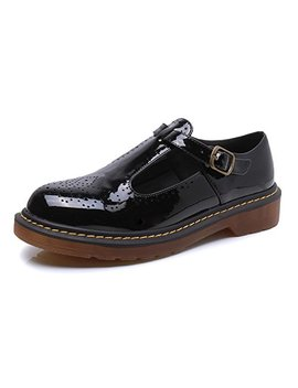 Smilun Lady's T Mary Jane Flats Shoes Classic Buckle Round Toe by Smilun