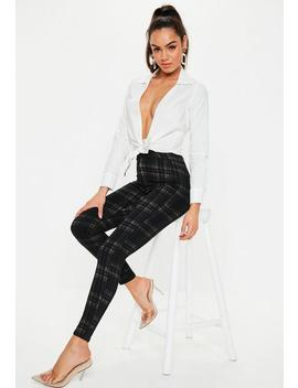 Black Vice Check Print Skinny Jeans by Missguided
