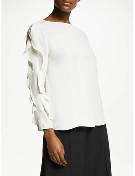 John Lewis & Partners Ruffle Sleeve Top, Ivory by John Lewis & Partners