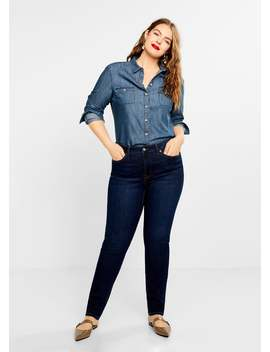 Denim Blouse Met Medium Wassing by Mango