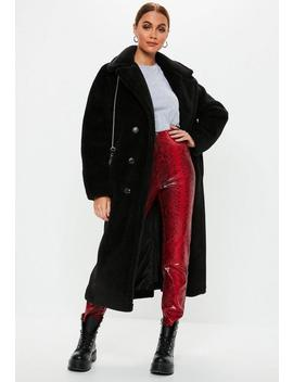 Black Long Faux Fur Coat by Missguided
