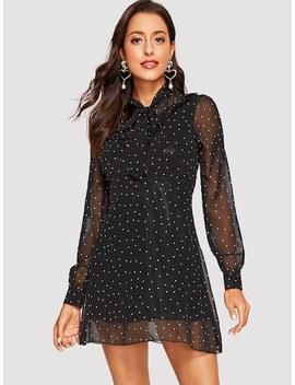 Tie Neck Polka Dot Mesh Overlay Dress by Shein