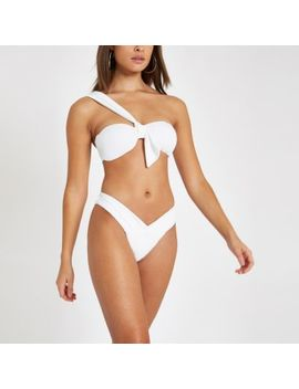 White Textured Ruched Low Rise Bikini Bottoms by River Island