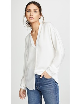 Rib Trim Silk V Neck Top by Vince