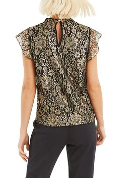 Metallic Lace Sheared Hem Top by Oasis