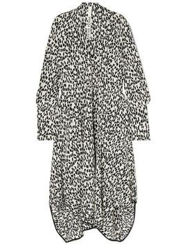 Tie Neck Asymmetric Leopard Print Silk Crepe De Chine Midi Dress by Petar Petrov