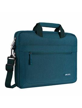 Mosiso Messenger Laptop Shoulder Bag Compatible 15 15.6 Inch 2018 2017 2016 New Mac Book Pro/Mac Book Pro, Also Fit 14 Inch Ultrabook, Polyester Briefcase With Adjustable Depth At Bottom, Deep Teal by Mosiso
