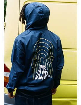 Windbreaker Anorak Jacket Navy Blue With Desire Print by Dream But Do Not Sleep
