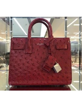 Ysl Sac De Jour Ostrich Embossed Red Leather Bag (Special Esition) by Yves Saint Laurent