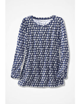 Hearts Galore Ruched Slub Tee by Coldwater Creek