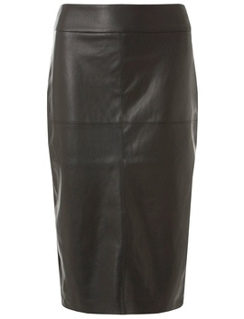 Black Faux Leather Midi Pencil Skirt by Dorothy Perkins