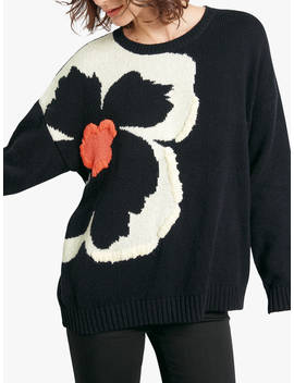 Hush Emmeline Oversized Flower Jumper, Black by Hush
