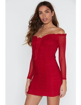 Sugar Ruche Off The Shoulder Mini Dress by Nasty Gal