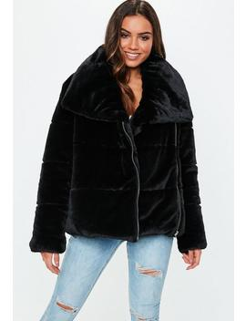 Black Oversized Faux Fur Puffer Jacket by Missguided