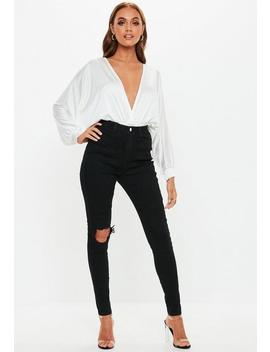 Black Sinner Busted Knee High Waisted Skinny Jeans by Missguided
