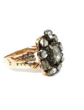 Georgian Diamond Ring, Rough Cut Diamond Ring, Antique Diamond Ring, Cluster Ring, Pear Shaped Diamond Ring, Gold Ring, Free Shipping by Etsy