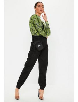 Lime Green Funnel Neck Snake Print Bodysuit by Missguided