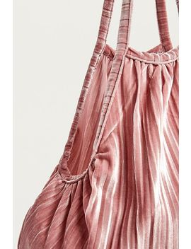 Uo Velvet Plisse Pleated Shopper Tote Bag by Urban Outfitters