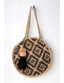 Borrego Black And Beige Round Woven Tote by Lulus