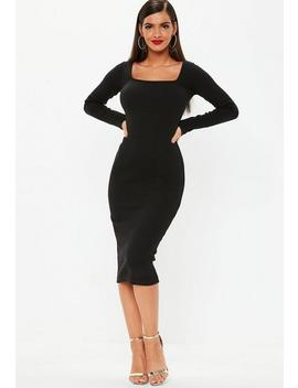 Tall Black Ribbed Midi Dress by Missguided